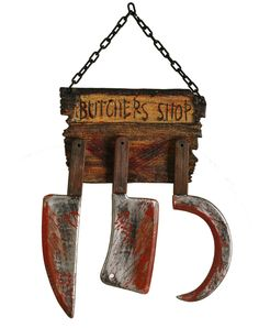 HALLOWEEN Butcher Shop Sign $19.99 [have those plastic halloween costume knives etc....this would be an easy diy]