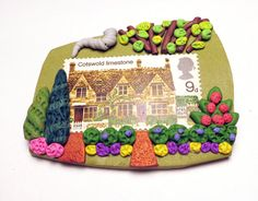 Cotswold House Polymer Clay Pin Handmade Art by SweetchildJewelry, $15.00