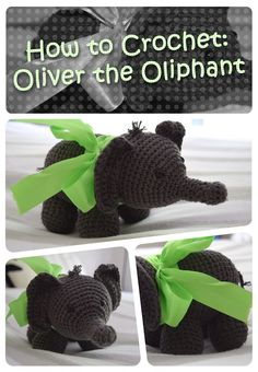 How to #Crochet Oliver the elephant - I really want to try one of these! ༺✿ƬⱤღ http://www.pinterest.com/teretegui/✿༻