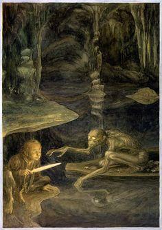 L'incontro fra Bilbo e Gollum in un'illustrazione di Alan Lee