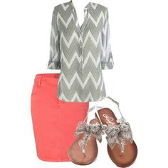 Cute outfit! Coral skirt!