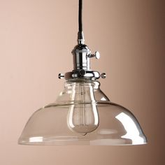 Pathson 9.8 Inch Industrial Vintage Modern Dome Clear Glass Shade Loft Bar Kitchen Island Chandelier Edison Hanging Pendant Ceiling Light Lamp Fixture(Chrome): Amazon.co.uk: Lighting