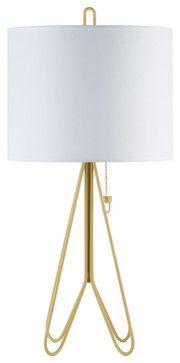 Flight Table Lamp Dark Yellow Base, White Linen Shade - Modern - Table Lamps - Design Public