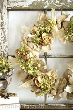 Burlap, canvas and hydrangeas. #burlap, #wreath #wicklessmolly