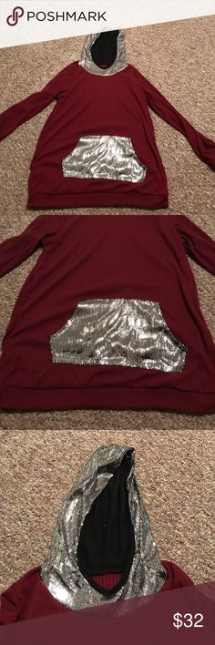 Maroon sequin sweater NEVER worn. It was too tight on me. The sequins kinda rub you if you don't wear a tank or something under it. 100% polyester. No brand. torrid Tops Sweatshirts & Hoodies