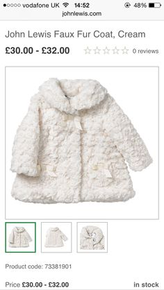 A/W 15 GIRLS FAUX FUR COAT  JL