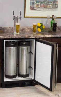 """Marvel ML24BTP3LP 24"""" Built-in Beer Dispenser with Double Tap, Half Barrel Keg Storage, CO2 Tank and Other Accessories Included: Overlay Frame, Left Hinge 