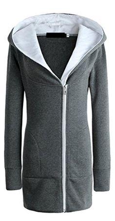 24256751ddbf WSPLYSPJY Women's Casual Warm Hoodies Front-Zip Longline Long Jackets  Overcoat 1 XS Slim Fit