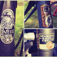 Old style badges on old Dutch bicycles.