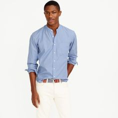 Keep It Light: J.Crew goes casual with its striped band collar shirt and white…