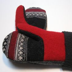 recycled felted sweaters into mittens
