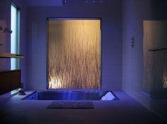 sunken tub/shower combo, lighting