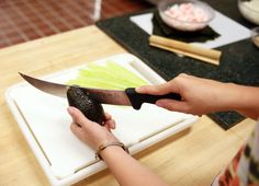 Slicing the avocado