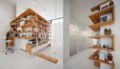 Laurent McComber's desk/shelving in the attic of this Montreal home.
