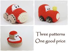 Crochet toy patterns - boat, car and train