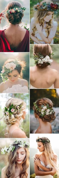 beautiful natural and organic floral bridal headpieces ideas
