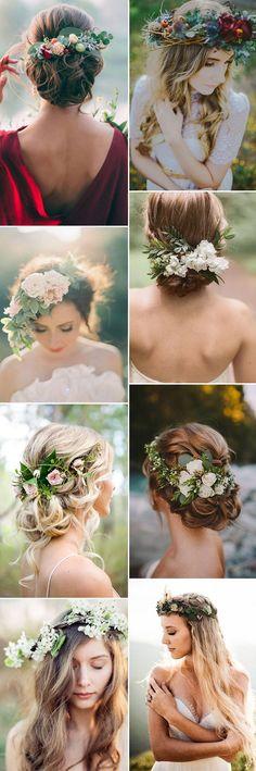 beautiful natural and organic floral bridal headpieces ideas