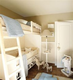 #boynursery Nice use of space when you are putting 2 boys in one room. Love the color palette. Make sure soft pillows and toys are removed when baby is sleeping. From inspiringinteriors.com