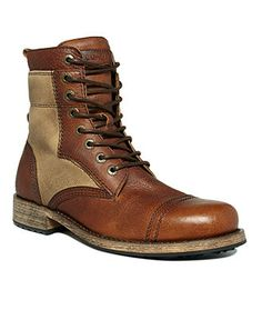 You can trek into the wild or cruise the concrete in this pair of men's boots. These desert-style leather boots for men from Levi's blaze their own trails in a rugged, two-tone design.