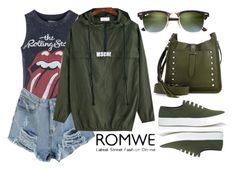 """03112016 - ROMWE Hooded Sweatshirt"" by filmaandry ❤ liked on Polyvore featuring Topshop, Maison Kitsuné, Rebecca Minkoff and Ray-Ban"