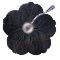Pendentif fleur nacre noire