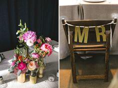 Blumen + Stuhl-Deko + Vasen in Gold