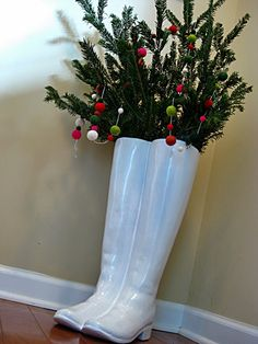 Christmas in July? We love how @Amy Lyons Lyons@eatsleepdecorate added cheer to her Z Gallerie umbrella boot holder.  Save this idea for the holiday season!