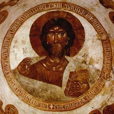 Spas na Ilyine - Christ Pantocrator 01 - Church of the Transfiguration on Ilyina Street.  The fresco of Christ Pantocrator in the dome, painted by Theophanes the Greek in 1378-