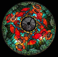field of poppies - tiffany lamp