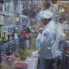 """Italian Kitchen"" | Nancy Tankersley | 20""x20"" | Oil | $3,000 #art #artwork #artist #femaleartist #braziergallery #artgallery #gallery #fineart #rva #artforsale #paintingsforsale #forsale #kitchen #chef #cook #cooking #culinary #italianfood #foodporn #painting #painter #impressionist #impressionism #colorful #nancytankersley"