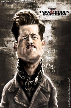 Brad Pitt Brad Pitt, Funny Caricatures, Celebrity Caricatures, Funny Celebrity Pics, Celebrity Pictures, Quentin Tarantino, Inglourious Basterds, Hollywood Star, Famous Faces