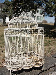 Reserved for Kristi Vintage white Iron bird by BarnshopAntiques