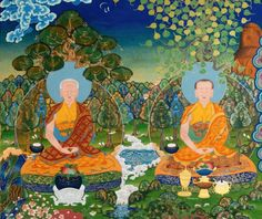 Feminism Awakens In Himalayan Buddhist Art and Meditation - A continuation of the Dongyu Gatsal Ling Nunnery Temple mural shown above, with this depicting two of the first Buddhist nuns (bikshunis) who are historically reputed to have followed Mahapajapati Gotami. Painted by Kalsang Damchoe and The Kalsang Tibetan Traditional Art of Thangka Painting studio.