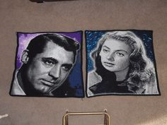 Cary Grant & Ingrid Bergman crocheted panels for my 'Galaxy of Stars' tribute blanket <3! x