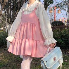2-Piece Pink Kawaii Girl Sweet Aesthetic Lolita Dolly Dress - One Size