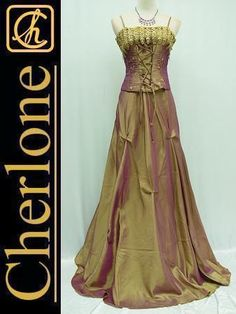 CHERLONE Plus Size Satin Gold Corset Lace Ball Gown Wedding Evening Dress 22 24 | eBay