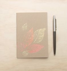 A6 blank notebook metallic leaf print