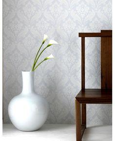 Vintage Flock: Pure White Wallpaper