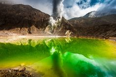 Poisonous lake on the Papandayan volcano on Java, Indonesia