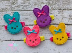 Felt Hair Clip Marshmellow Peep Easter Bunny NO SLIP (You pick color) on Etsy, $3.49