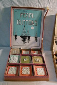 ButtonArtMuseum.com - Vintage Pearl Buttons Lot with Display and One Display with Mixed Buttons