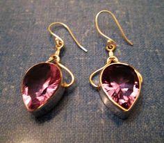 EARRINGS  - Color CHANGE - ALEXANDRITE - Teardrop - Lavender - Blue - French Hook - Sterling Silver  - 925 -Dangle earrings 409 by MOONCHILD111 on Etsy
