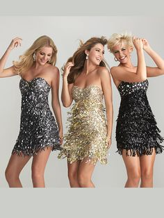 Size 0 Charcoal, 2 Gold and Size 4 Charcoal In StockBring a touch of vintage vibe to your homecoming in the Night Moves short prom dress 6633! This amazing dress features a beautiful sweetheart neckline embellished with chunky A.B. rhinestones. The fitted empire waist will elongate the body while the fringe skirt slims and narrows. The hand sewn skirt displays many strands of bright sequins that makes this cocktail dress something straight out of the 1920's. Throw on a pair of heels and…