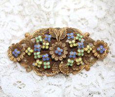 Vintage Art Deco Czech Enamel Floral Filigree Brooch