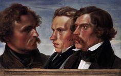 Hübner, Julius - Portrait de Carl Friedrich Lessing, Carl Sohn et Theodor Hildebrandt - Alte Nationalgalerie, Berlin