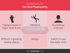 Symptoms of Cervical Myelopathy Cervical Spinal Stenosis Symptoms, Cervical Disc, Cervical Spondylosis, Degenerative Disc Disease, Acdf Surgery, Physical Therapy Quotes, Spinal Fusion Surgery, Spine Care, Health Tips