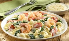 Creamy Shrimp Alfredo. Looks like a much better version of what I made :P