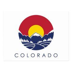 Shop Colorado Rocky Mountain State Flag Postcard created by ilovecoloradoshirts. Az State, Colorado State Flag, Mountain States, Blue Mountain, Sunset Tattoos, California Flag, Seal Logo, City Drawing, City Logo