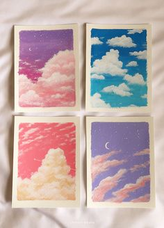 How to Paint Clouds (Easy Step-by-Step with Pictures) Outline Art, Outline Drawings, Pencil Art Drawings, Easy Drawings, Simple Acrylic Paintings, Easy Paintings, Watercolor Paintings, Circle Painting, Painting Clouds