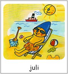Juli | Pompom maanden Weather Seasons, Doodles, Disney Characters, School, Pom Poms, Cars, Donut Tower, Doodle, Zentangle